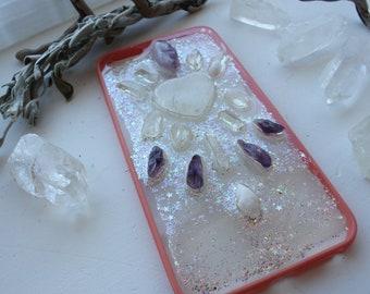 iPhone 6 Plus Quartz Heart and Amethyst Crystal Phone Case