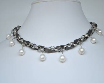 Choker- Pearls and Gray Leather