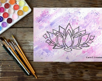Instant download, original watercolor, lotus flower illustration