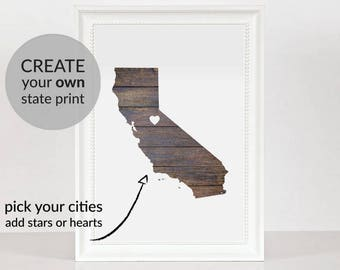 Custom state map Printable art Wood USA map Customized print Wood map wall art Rustic home decor Custom state gift Personalized wall decor