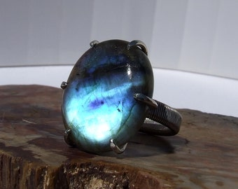 Blue Labradorite, silver ring, prong set with large oval cabochon, size 7