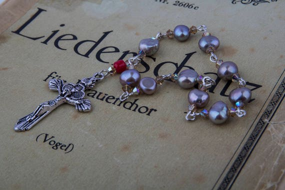 Rosary, praying beads, one decade rosary, sweet water pearls and Swarowski crystal rosary, spiritual jewelry by GunaDesign