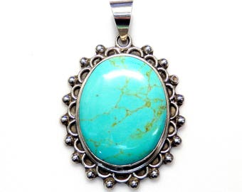 Sterling Silver .925 Oval Turquoise Pendant