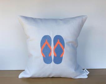 Flip flop pillow, flip flop decor, beach decor, beach lovers gift, summer decor, summer gift, summer pillow, beach pillow
