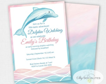 Dolphin Party Invitations | Pool Party | Watercolor, dolphin watching, sailing | Editable Text PDF that You Edit Yourself In Adobe Reader