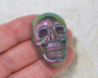 Metallic Purple Skull Bead Pendant Side Drilled Jewelry Stone (5269)