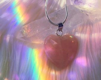 Rose Quartz Heart Pendant Necklace | Gift Wrap Available