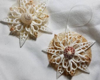 Nutmeg Seashell Snowflake,  Snowflake Ornament, Seashell Ornament, Shell Christmas Ornament, Seashell Christmas Ornament