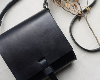 Handmade Small cross body leather bag, miniature satchel, small messenger bag, black cross body pouch, Hand sewn bag.  Made in UK