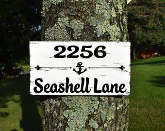 Personalized Family Name Beach House Sign, Beach Address Sign, Beach Sign, Beach House Decor, Cottage Chic Beach Decor, Custom Beach Sign