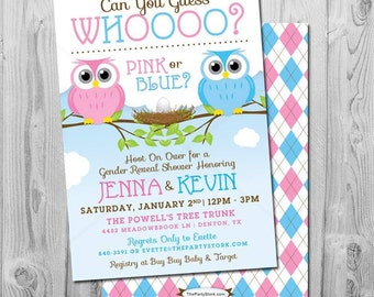 Gender Reveal Invites Owl, Owl Gender Reveal Invitation, Owl Baby Reveal Invitation, Printable Pink or Blue, Blue or Pink, What do you think