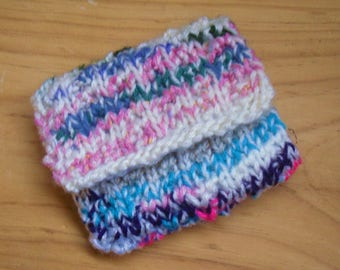 Knitted Upcycled Coin Purse,Hand Knitted Multi Coloured Coin Purse