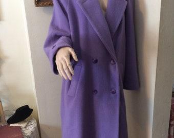 Vintage 80s Bold Lavender  Ladies  Ultimate Classic Wool Spring Ladies Coat size  Large