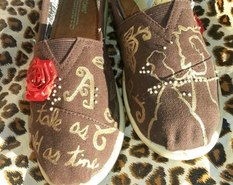 Beauty and the Beast Toms, Disney Toms, Custom Toms, Disney Vacation Shoes, Disney Reaort Wear, Disney Souvenir, Hand painted Toms, Belle