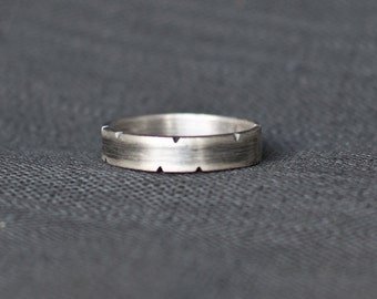 Men's Wedding Band - Rustic Sterling Silver - 5mm band - Men's Wedding Ring - oxidized wedding band Unique Men's Wedding Band Boyfriend gift