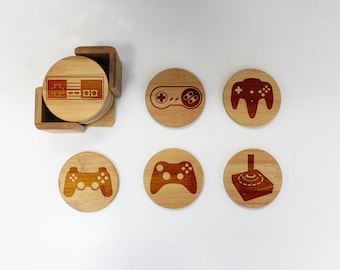 Coasters, Round or Square Coaster Set, Engraved Bamboo Wood Coasters, Video Game Gamer Geek Lover Housewarming Gift 6pc Set --22060-CST1-001