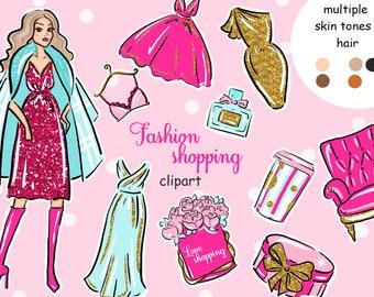 Shopping Clip Art,Blog Planner Girl Stickers, Fashion Illustration Glitter Girly Stickers scrapbook Glam Girl shopping girl fashion clipart