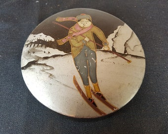 Vintage Japanese Laquer Ware  Box Jewelry or Trinket Round Hand Painted with Skiier Skiing Lady on Top 1920's Art Deco Original