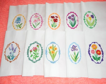 Vintage Embroidered Cameos, Set of 10 , Quilt Blocks or Squares