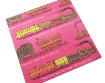 Vintage Wrapping Paper - Train Happy Birthday - Full Sheet Gift Wrap - Rust Craft