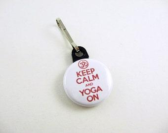 Keep Calm and Yoga On, Zipper Pull, Zipper Charm, Red, White, Zipper Pull, Yoga Bag, Exercise