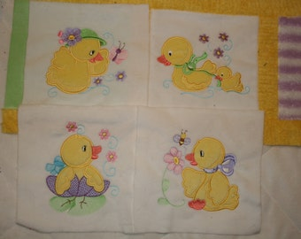 """Appliqued Minky Quilt Squares, """"Here Ducky, Ducky"""""""