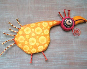 Lemon Chicken, MADE to ORDER, Chicken Wall Art, Original Found Object Wall Sculpture, Bird Sculpture, Wood Carving, by Fig Jam Studio