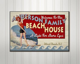 Personalized Beach House Sign, Custom Family Name Sign, Personalized Sign, Personalized Lake Home Sign