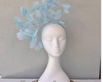 Ladies pale blue feather headband fascinator