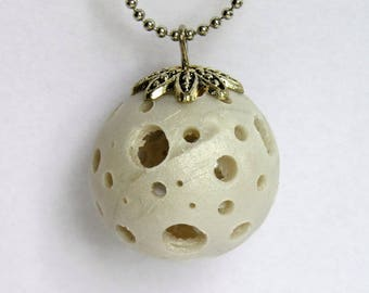 Ball necklace with polymer clay, White Pearl ball holes with Bell, fimo, long necklace