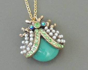 Vintage Inspired Necklace - Ladybug Necklace - Turquoise Necklace - Gold Necklace - Rhinestone Necklace - Bug Jewelry - Handmade Jewelry