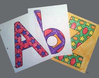 52 Shapes & Alphabet Coloring Pages
