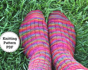 KNITTING PATTERN-Crazy Summer Socks, Sock Pattern