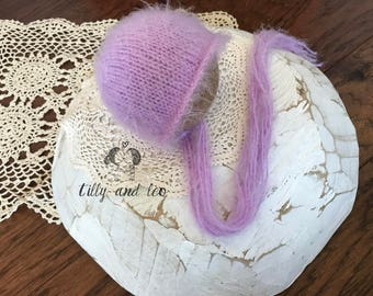 Ready to Ship Newborn Lilac Baby Bonnet/Baby Hat/Baby Photo Prop/Knit Newborn Bonnet Hat/Angora Baby Bonnet