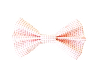 Blush Aztec and Dot Fabric Bow Hair Clips or Bow Ties - dainty and Dapper