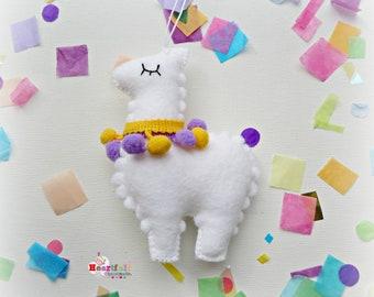 Alpaca Hanging Ornament Decoration white - rainbow - pom pom - llama