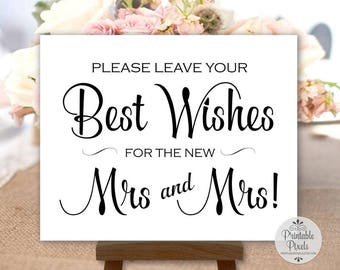 LGBT Best Wishes Sign, Brides, Black Lettering, Printable, Wedding, Mrs and Mrs, Guest Book (#BS13B)