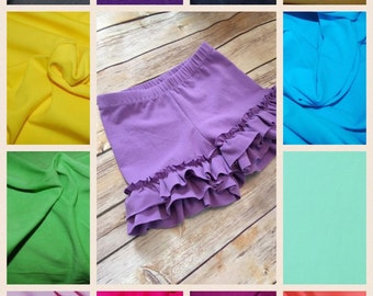 Solid color Ruffle Shorties 6 months - girls 8