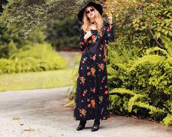 60s Roses Maxi Vintage Black Colorful Floral Long Dress