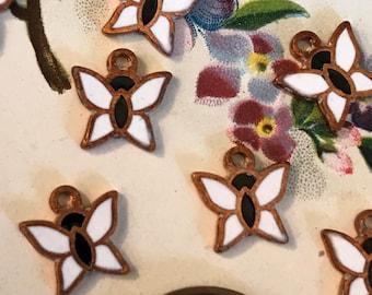 Enamel Butterfly Charms,Vintage Charms,Copper charms,butterflies,NOS,White butterflies,Enameled Butterflies,Farmers Market #G45E