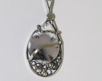 Solid 925 sterling silver with dendritic Opal pendant # 97