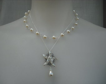 STARFISH Version 1, Double Strands Necklace, Bridal Necklace, Rhinestone and Pearl Necklace, Vintage Style, Wedding Jewelry