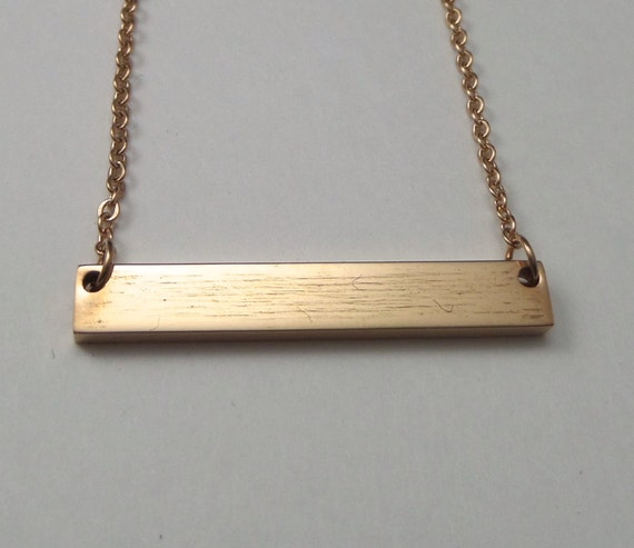 """2 - Rose Gold Plated Surgical Steel Blank Bar Necklace 32mm x 5mm Polished 12 Gauge Thick 18"""" Chain - Use 2.5mm Stamps"""