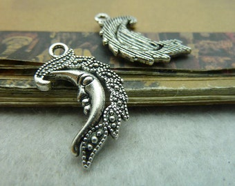 20 Moon Charms Antique Silver Tone Beautiful Detail