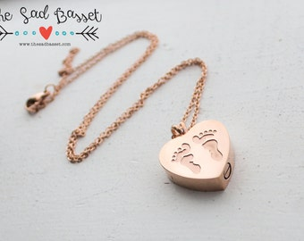 Personalized Rose Gold Cremation Urn Pendant | Hand Stamped Jewelry | Ash Urn Necklace | Cremains Jewelry | Memorial Baby Feet Pendant