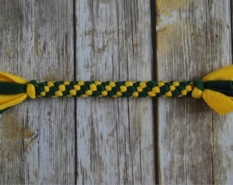 Durable Dog Toy - Fleece Rope Dog Toy - Green and Yellow - Packers Dog Toy - Small / Medium