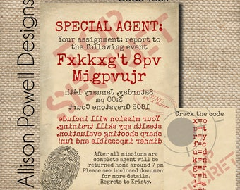 Spy Birthday Party Invitation and Code Key - DIY - Printed - Allison Powell Designs