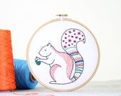 Squirrel Embroidery Kit - Embroidery Design - Nursery Decor - Hand Embroidery - Hoop Art - DIY Kit - Modern Embroidery - Adult Craft Kit