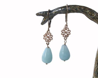 Earrings, bohemian and festive, goldfilled with amazonite drop free shipping