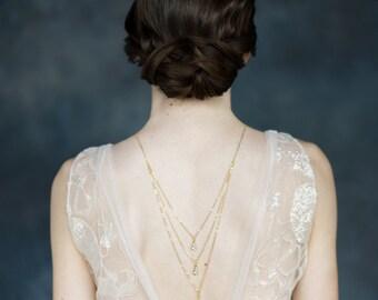Gold Crystal Back Necklace, Crystal Drop Necklace, Bridal Y Necklace, Rose Gold Backlace, Silver Wedding Necklace, Teardrop Necklace, JULIA